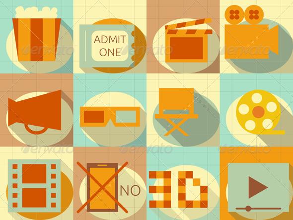 Flat Movie Icons Set - Web Elements Vectors
