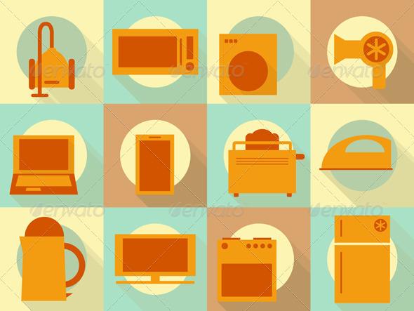 Flat Home Appliances Icons Set - Objects Vectors