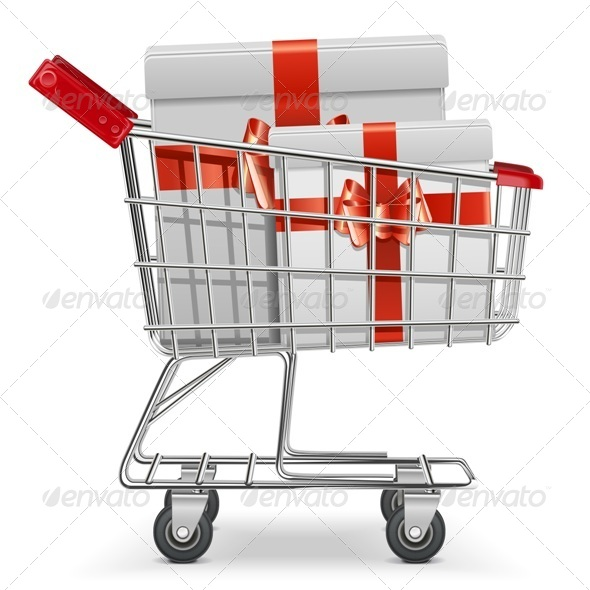 Supermarket Cart with Gifts - Commercial / Shopping Conceptual
