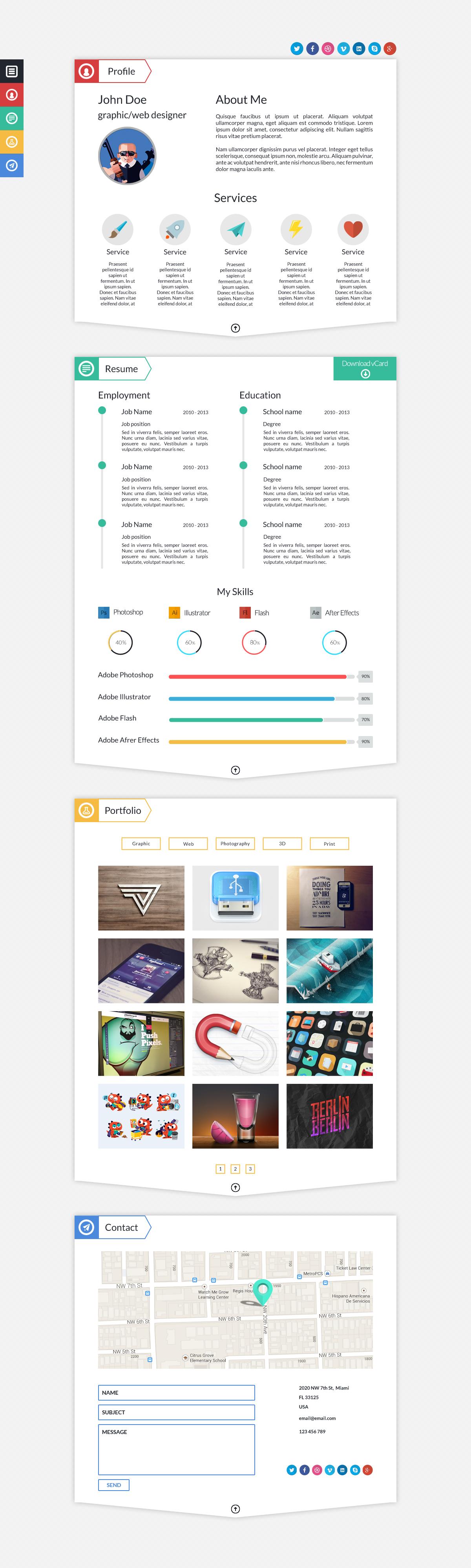 Dash Modern Resume Template PSD by BigBangThemes