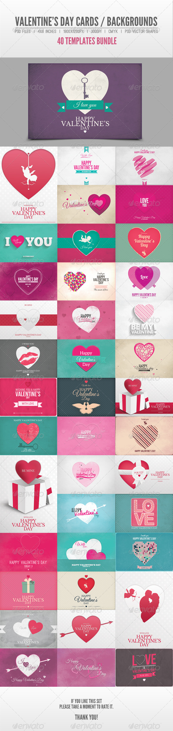 40 Valentine's Day Cards / Backgrounds Bundle - Backgrounds Graphics