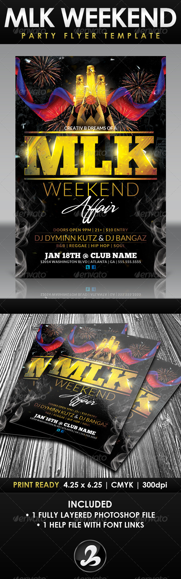 MLK Weekend Party Flyer Template - Holidays Events