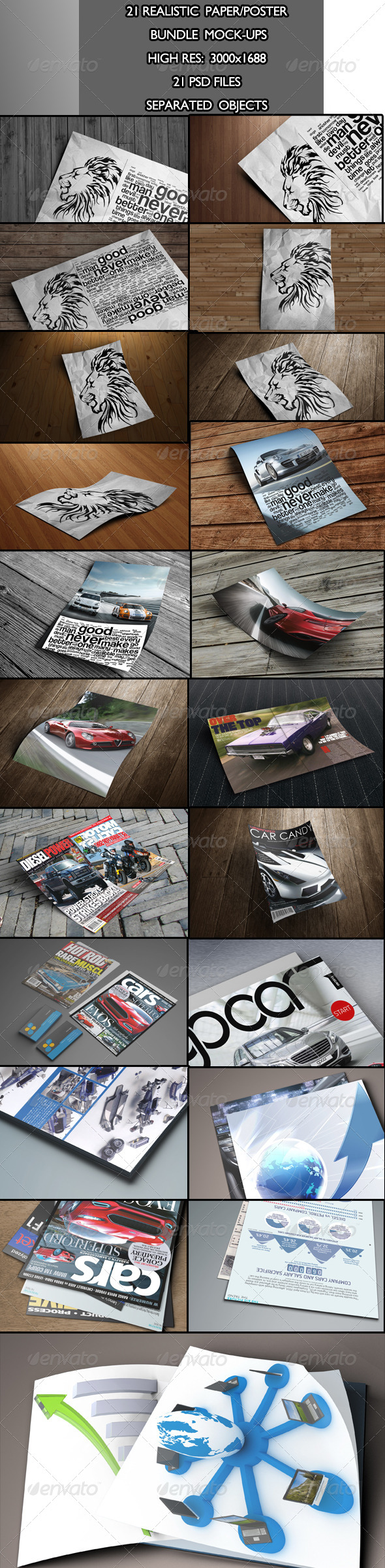 Realistic Paper/Poster Bundle Mock-Ups - Product Mock-Ups Graphics