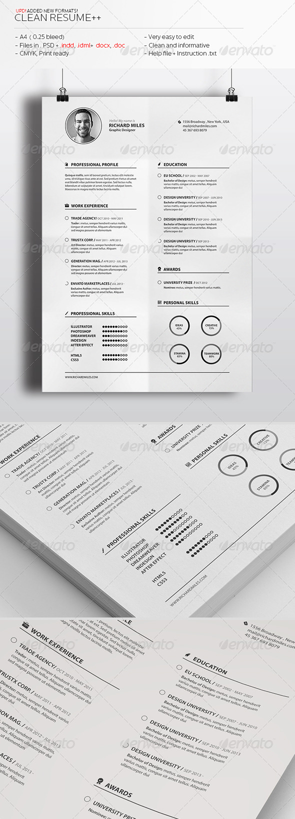Clean Resume++ - Resumes Stationery