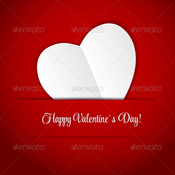 Happy Valentines Day Card with Heart - Valentines Seasons/Holidays