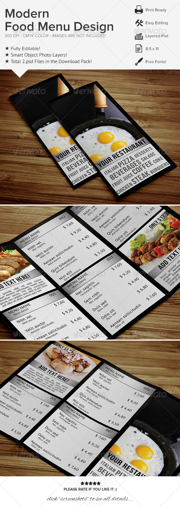 Modern Food Menu Design - Food Menus Print Templates