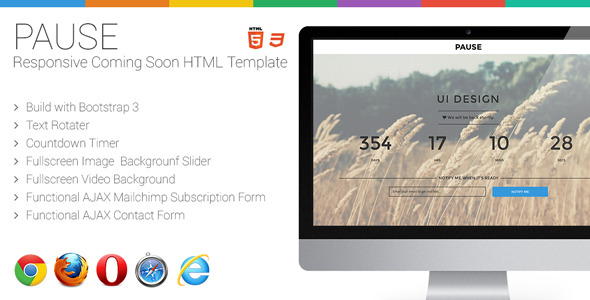 Pause - Responsive Coming Soon HTML Template