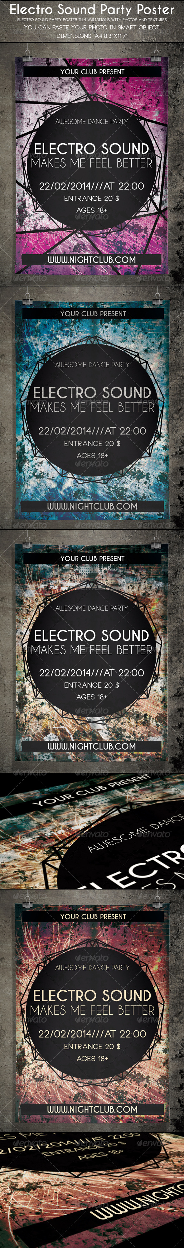 Electro Sound Party Poster - Clubs & Parties Events