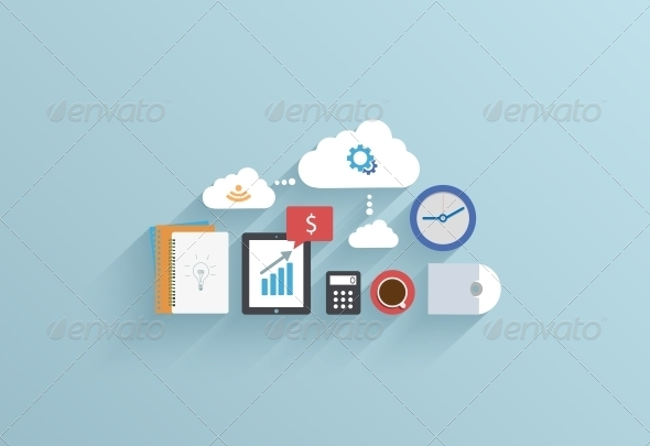 Flat UI Icon on Blue Background - Web Technology