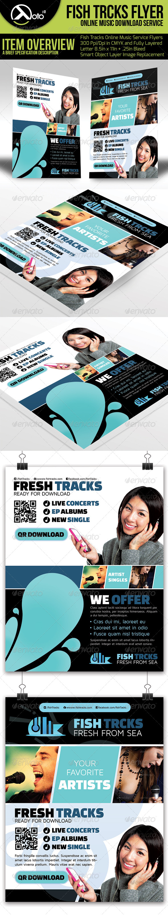 Fish Tracks Online Music Store Flyers - Commerce Flyers