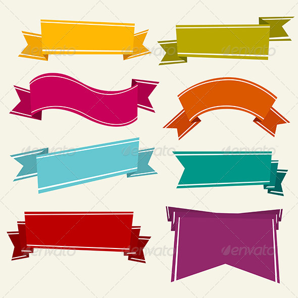 Colorful Cartoon Ribbons - Backgrounds Decorative