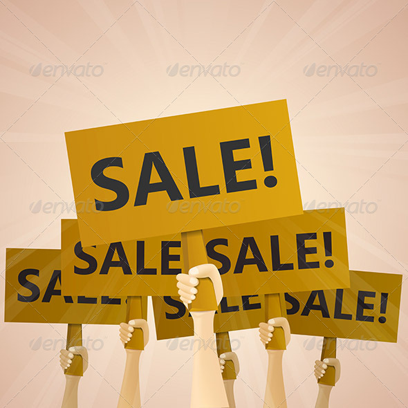 Sale Wooden Hand Signs - Concepts Business