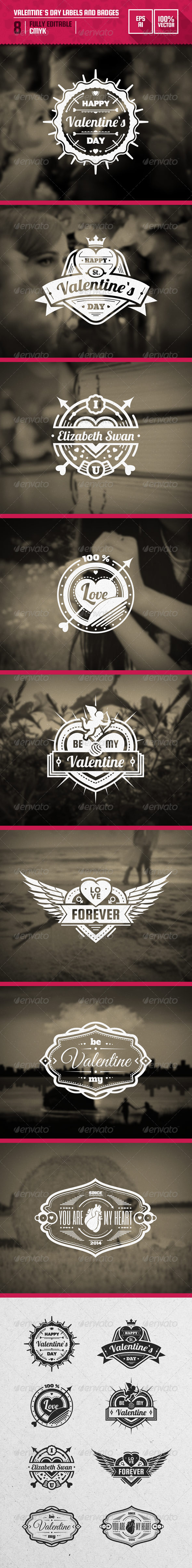 Valentine`s Day Labels and Badges - Badges & Stickers Web Elements