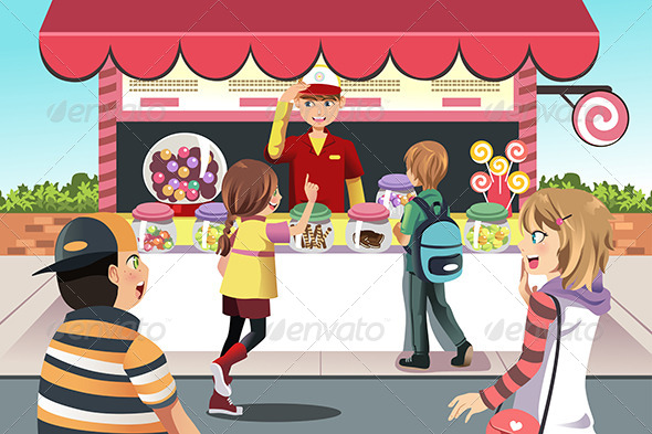 Kids Buying Candy - People Characters
