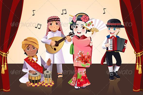 Kids Performing - People Characters