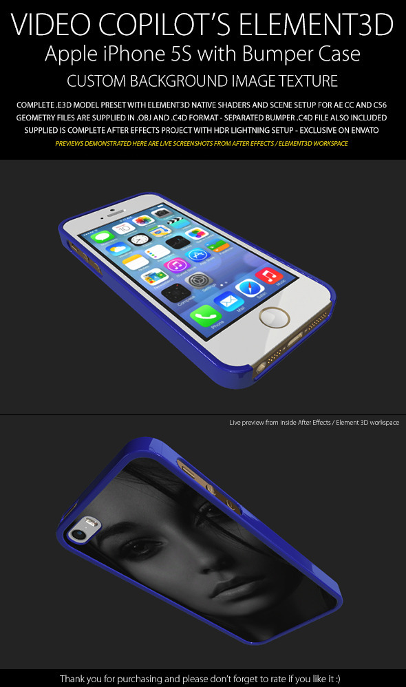 Element3D - iPhone 5S with Image Bumper Case - 3DOcean Item for Sale