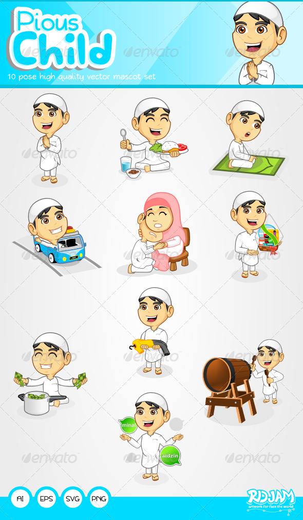 Pious Child Mascot Set  - Characters Vectors