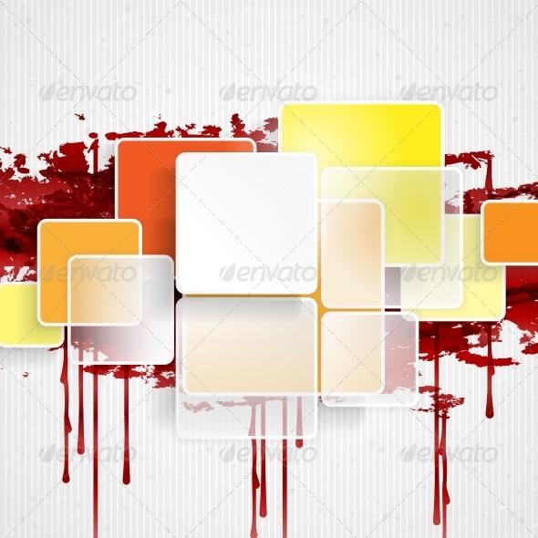 White Square Element On Stripes Background. - Backgrounds Decorative