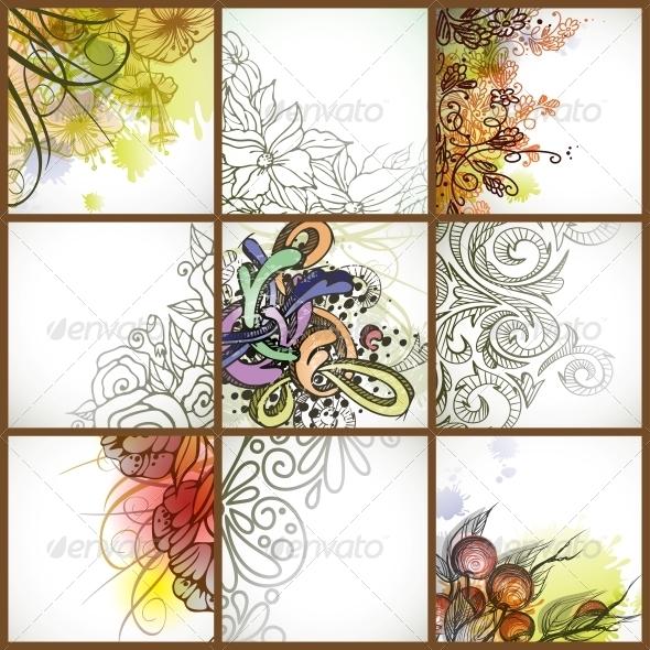 Set of Floral Backgrounds. - Backgrounds Decorative