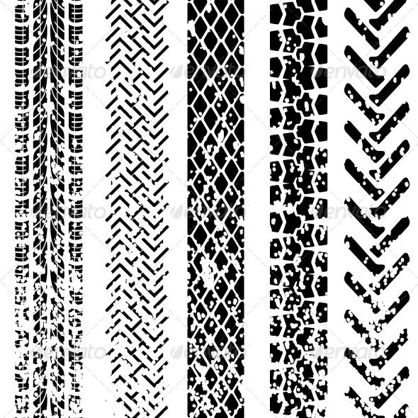 Set of Detailed Tire Prints, Vector Illustration - Web Elements Vectors