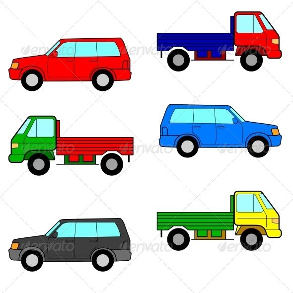 Set Cars, Trucks and Cars. - Web Elements Vectors