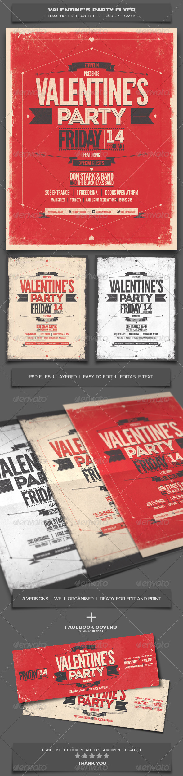 Valentine's Day Party - Event Flyer Template 8 - Holidays Events