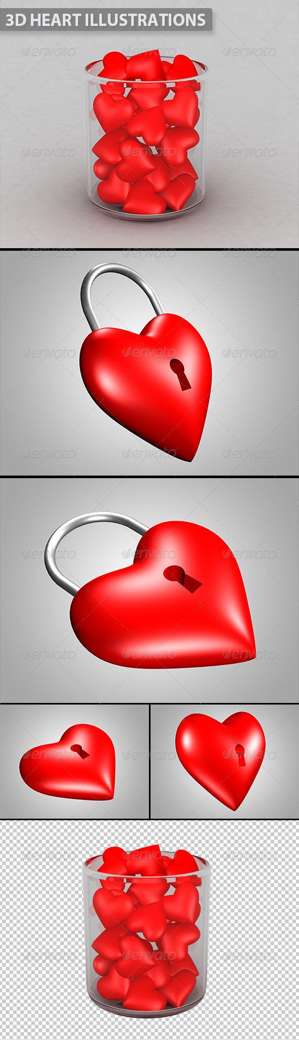 3D Valentine Heart Illustrations - 3D Renders Graphics