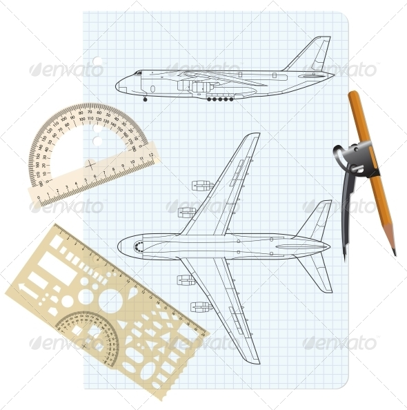 Exercise Book with a Drawing for a Model Airplane. - Web Elements Vectors