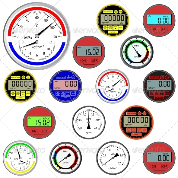 Set of Switches and Digital Manometers - Web Elements Vectors