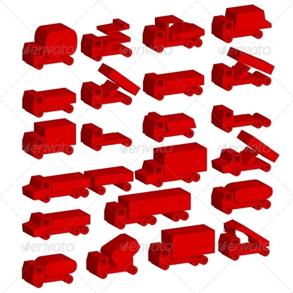 Set of Vector Icons - Transportation Symbols. - Web Elements Vectors