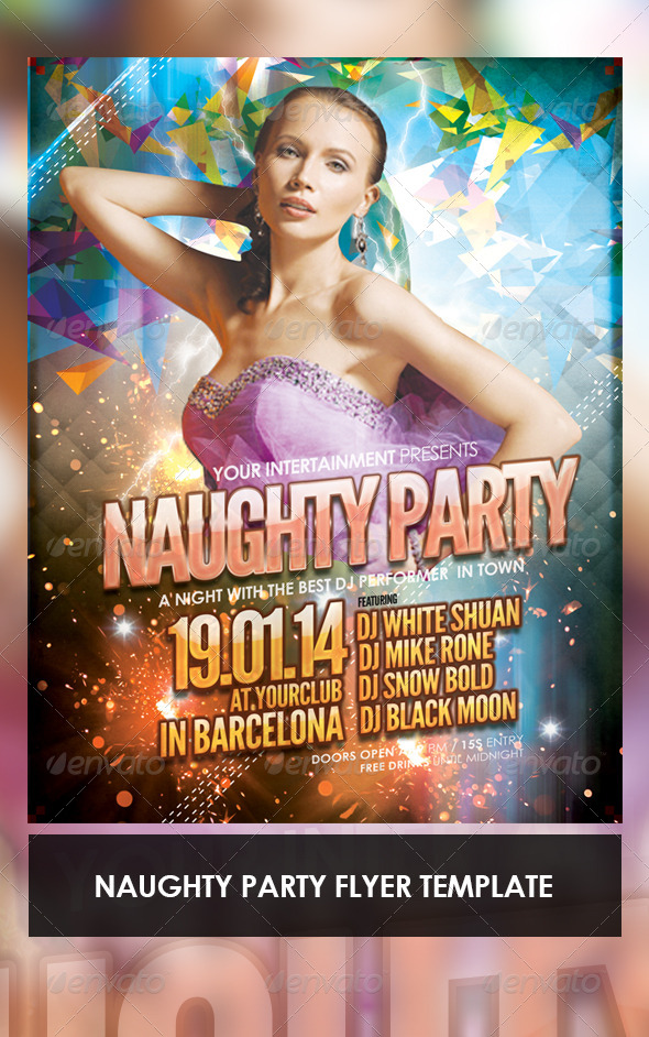 Naught Party Flyer Template - Clubs & Parties Events