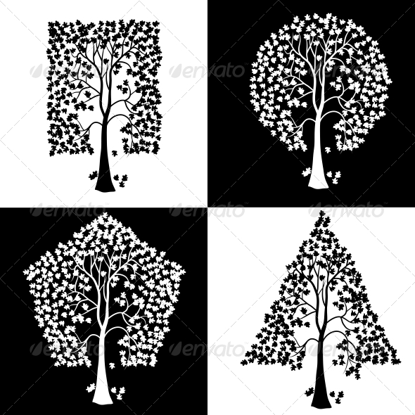Trees of Different Geometric Shapes. - Organic Objects Objects