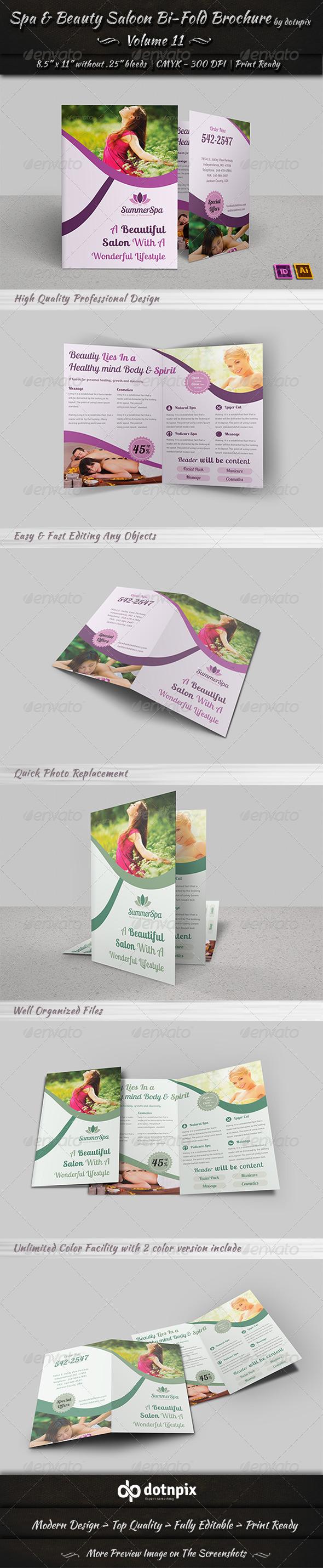 Spa & Beauty Saloon Bi-Fold Brochure| Volume 11 - Brochures Print Templates