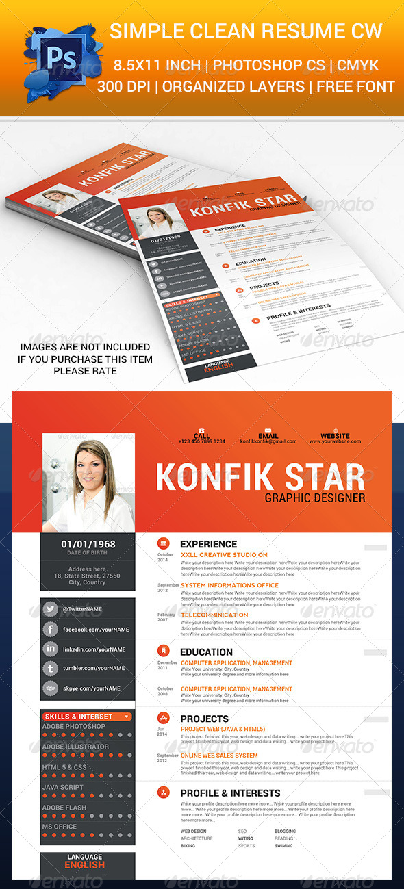 Simple Clean Resume cw - Resumes Stationery