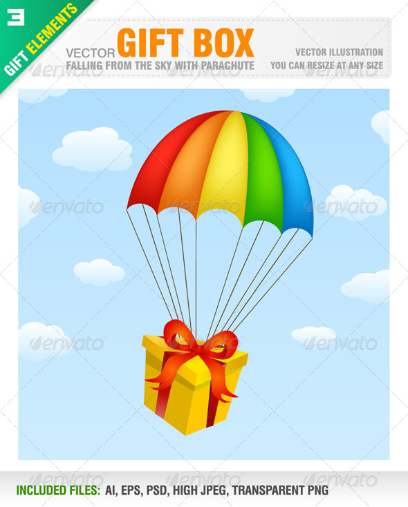 Gift Box with Parachute - Birthdays Seasons/Holidays