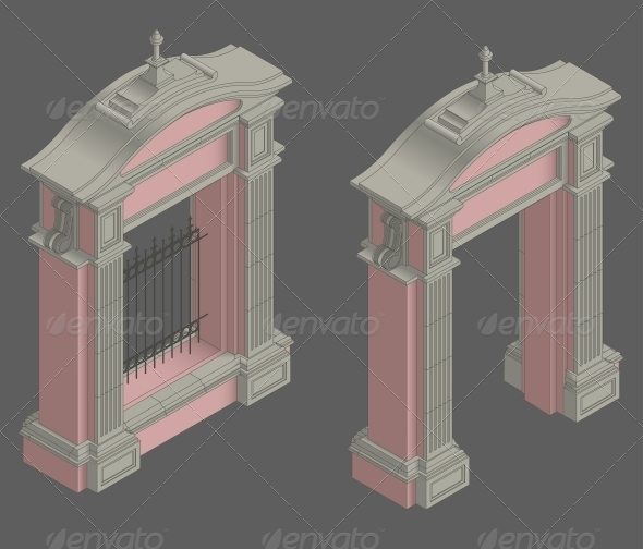 Vector Isometric Gate Portal - Buildings Objects