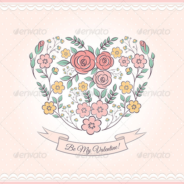 Floral Graphic With Heart - Valentines Seasons/Holidays