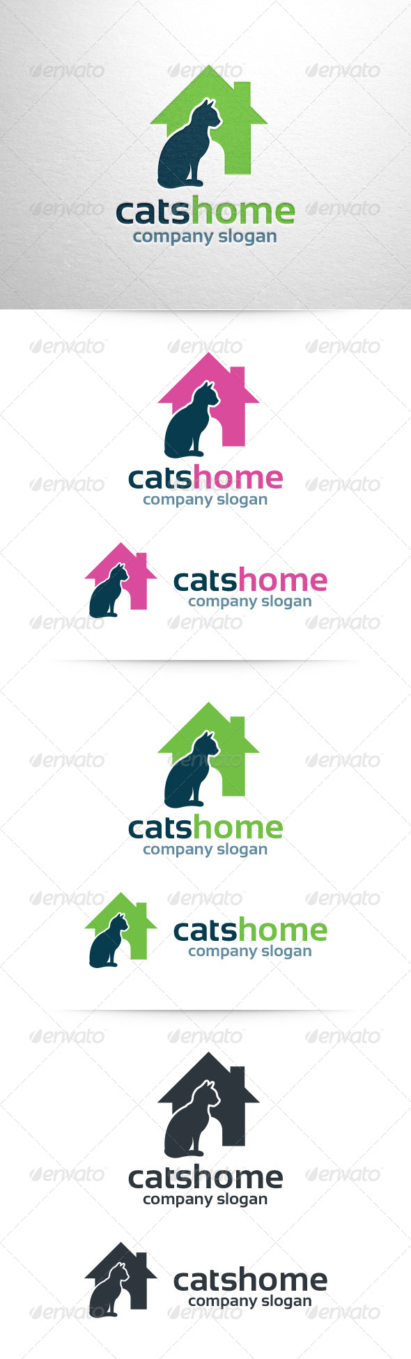 Cats Home Logo Template - Animals Logo Templates