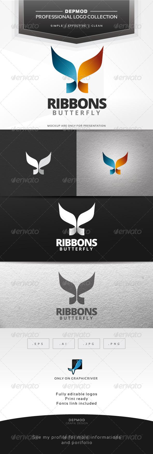 Ribbons Butterfly Logo - Symbols Logo Templates