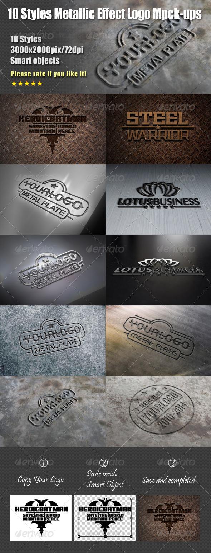 10 Styles Metallic Effect Logo Mock-ups - Logo Product Mock-Ups