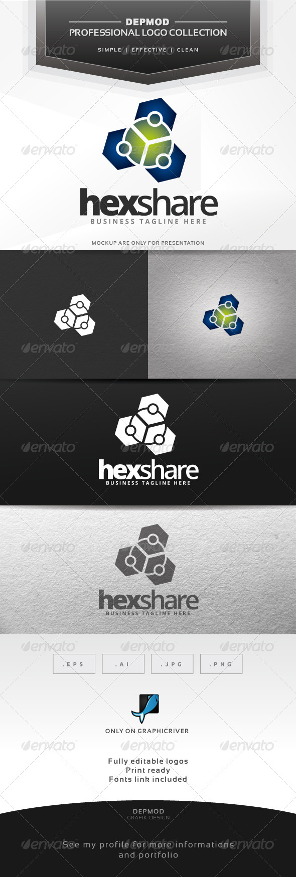 Hex Share Logo - Abstract Logo Templates