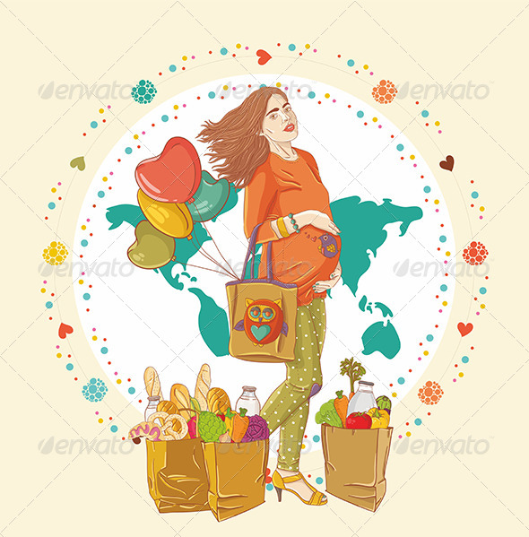Pregnant Woman Shopping - People Characters