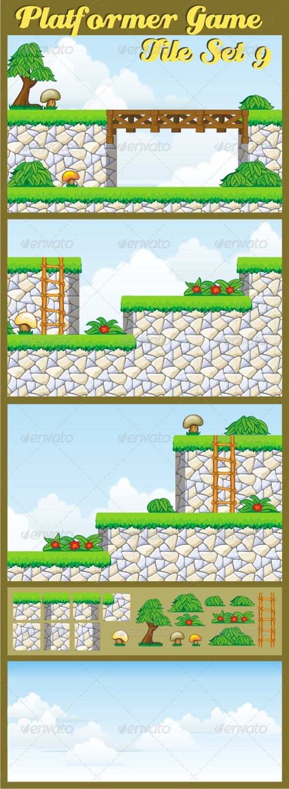Platformer Game Tile Set 9 - Tilesets Game Assets