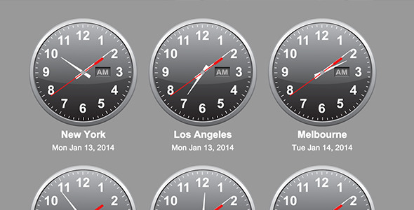 jQuery Time Zone World Clocks nulled free download