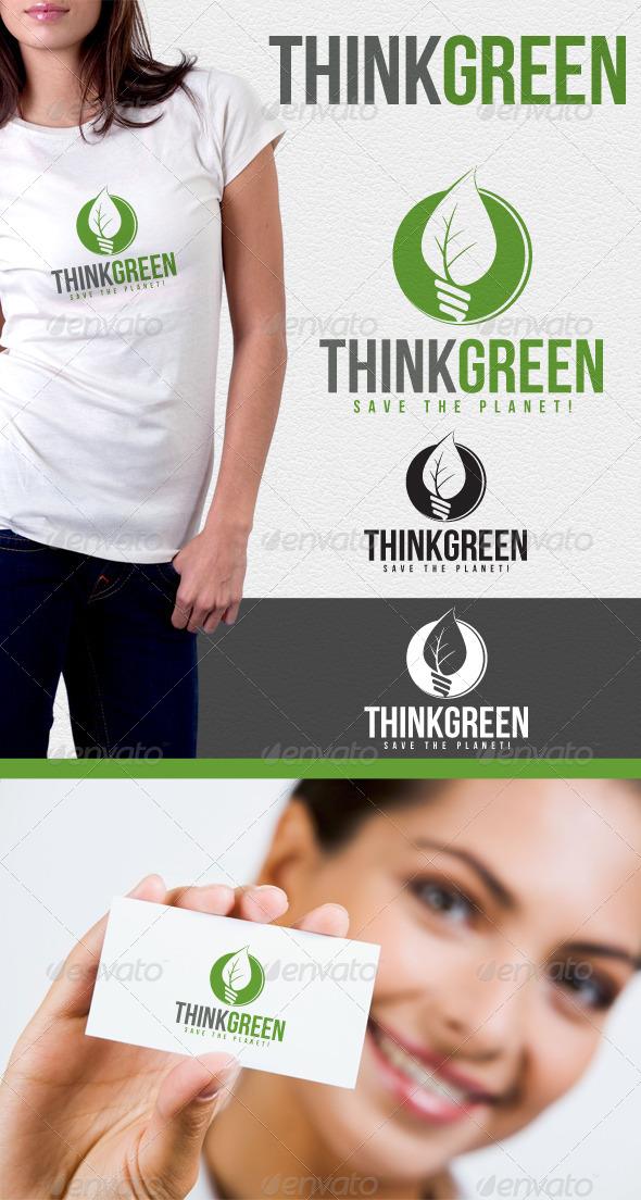 Think Green Environmental Logo - Nature Logo Templates