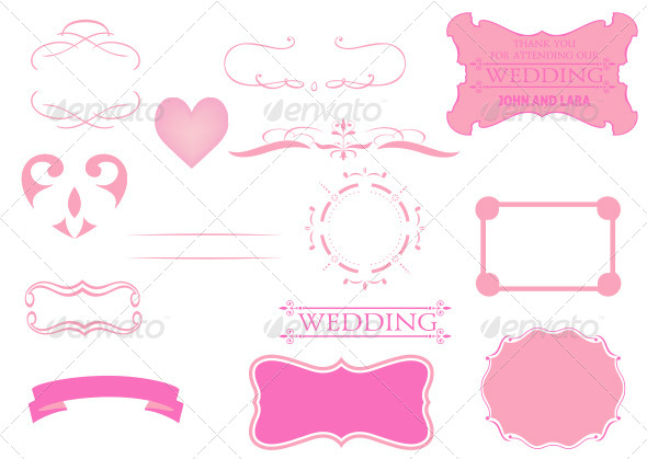 Calligraphic and Vintage Wedding Graphics Set - Weddings Seasons/Holidays