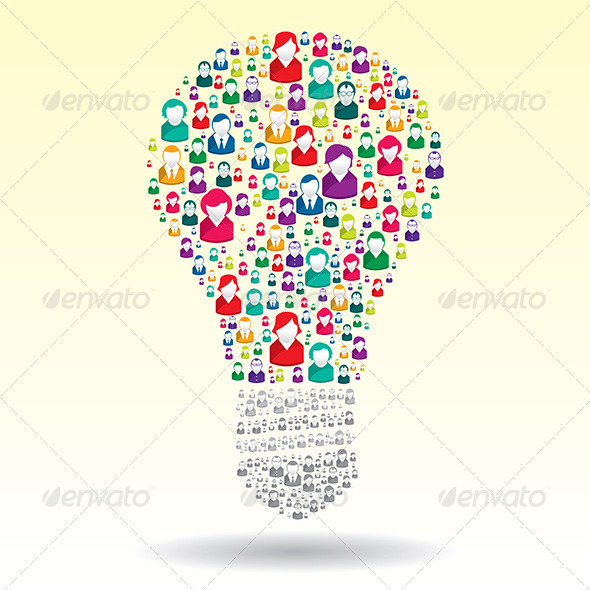 Light Bulb with Business People Icons - Concepts Business