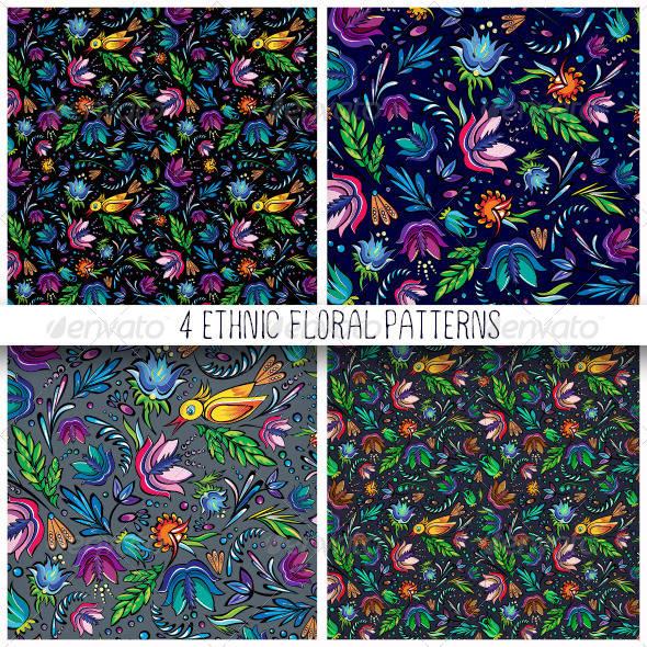 4 Seamless Cartoon Floral Patterns - Patterns Decorative