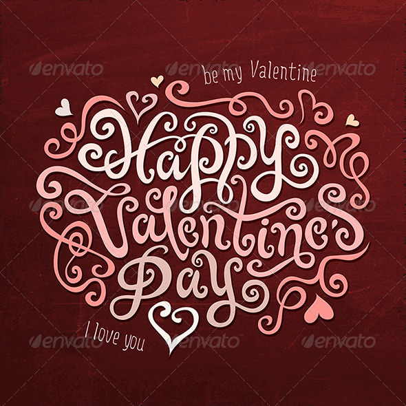Valentine's Day Greetings Hand Lettering - Valentines Seasons/Holidays