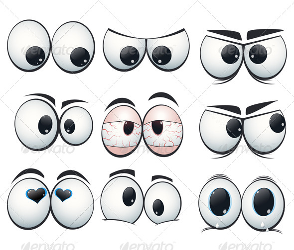 Cartoon Expression Eyes with Different Views - Characters Vectors